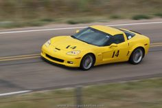 #Yellow C6 #Chevy Corvette running in the 2012 Sandhills Open Road Challenge, sponsored by OPTIMA Batteries