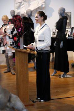 Crown Princess Victoria, at exhibition of Marianne Bernadotte's clothes at Millesgården, Feb/March 2017