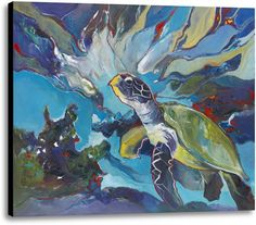 Picture of Heading Home. #blues #turtle #wallart #homedecor #canvas