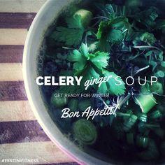 Celery Ginger Soup Recipe by Ines Festini via www.myfitstation.com #eatclean #recipes