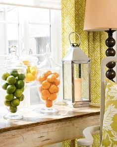 Tip: colorful fruit are the perfect accessory to freshen up your home. Place them in glass jars or footed bowls on top of your bar or on your kitchen counter. As an added bonus, you get a healthy treat to snack on! :) from Robin Baron