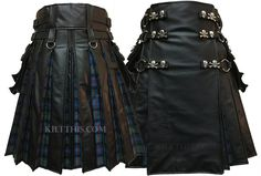 Black Leather Kilt Flash Pleats Interchangeable