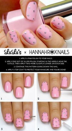 Mani Monday: Pink and Silver Polka Dot Mani Tutorial - Lulus.com Fashion Blog