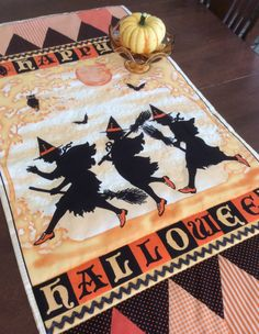 Halloween table runner oranges and black 22 by FeathersAndFantasy