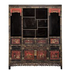 View 1: 19th century Chinese lacquered and gilt painted Scholars cabinet with eight asymmetrically configured shelves for displaying objects of curiosity, and four doors and four drawers carved and decorated with figures at leisure in a garden landscape.