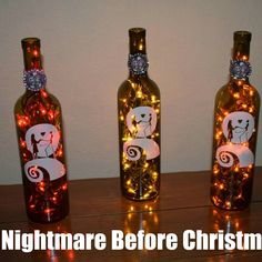 Items similar to Nightmare Before Christmas Wine Bottle Lamp Jack and Sally Halloween Light, Halloween Party, nightmare before christmas wedding on Etsy Christmas Wine Bottles, Lighted Wine Bottles, Bottle Lights, Halloween Party, Halloween Decorations, Halloween Bathroom, Nightmare Before Christmas Wedding, Jack And Sally, Wine Bottle Crafts