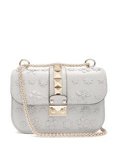 Valentino Lock small flower-embellished leather shoulder bag