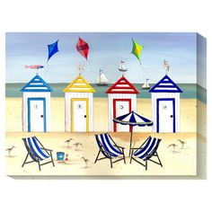 Global Gallery 'Beach Houses' by Katharine Gracey Framed Painting Print Size: Painting Frames, Painting Prints, Fine Art Prints, Beach Paintings, Canvas Home, Canvas Art, Decoration, Art Decor, Framed Artwork