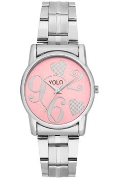 YOLO women's pink dial Analog wrist watch with silver metal strap is a unique and innovative product in the wrist watches market. This amazing, stylish fashion watch has arrived to complement your look and attitude.
