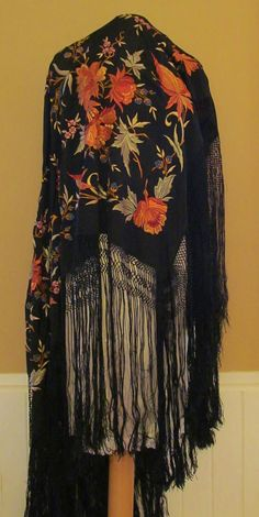 Vintage 1920s Piano Shawl - 100% Silk, Embroidered. $350.00, via Etsy. - this is beautiful..........wonderful handiwork
