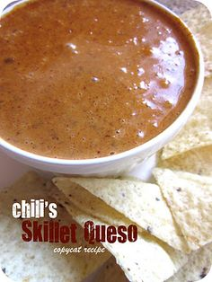 Chili's Copycat Skillet Queso Recipe:  (Recipe from Everything in Moderation)    16-ounce box Velveeta Cheese  1 c. milk  2 teaspoons paprika  ½ tsp. ground cayenne pepper  15-ounce can Hormel Chili (No Beans)   4 tsp. chili powder  1 tablespoon lime juice   ½ tsp. ground cumin    Cut the Velveeta into cubes. Combine the cheese with the remaining ingredients in a medium saucepan over medium heat.