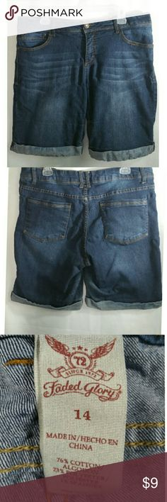 """Roll bottom  jean shorts Faded Glory hean shorts, size,14, 36"""" waist, 10""""inseam, 10"""" across front of hip there is a flaw in fabric shown picture 5, the dye has bked into the rolled hem bottom but neither flaw is very noticeable, all measurements are approximate Shorts"""