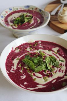 beet and avocado soup with cashew cream