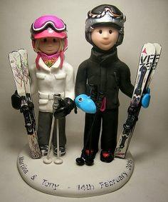 Ski themed wedding cake topper