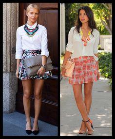 Saia Rodada estampada e curta_looks moda inspiração_camisa branca