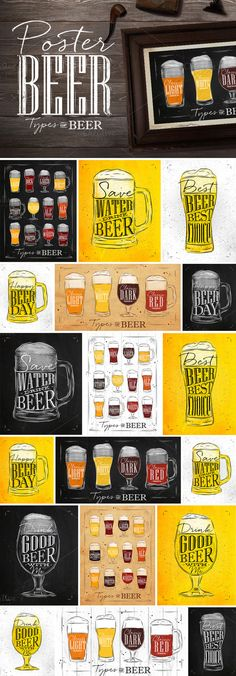 Set Poster Beer by Anna on @creativemarket