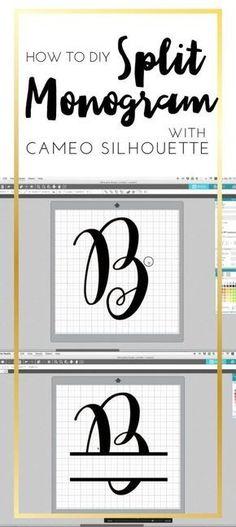 How to DIY Split Monogram With Cameo Silhouette Studio by C. Design How to DIY Split Monogram with Came Silhouette. How to make Split monogram by yourself! Cameo Silhouette and split monogram.