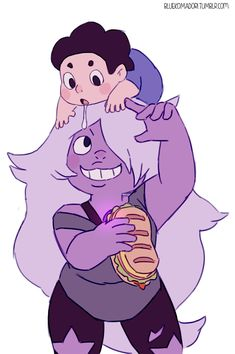 Steven: I want dis food :3 Amethyst: Too bad little man!