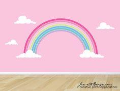 Rainbow Wall Decal Pink Rainbow Fabric Wall StickerGirls