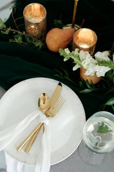 This pear motif is so classy!  #weddings #weddingplanning #weddingideas #reception #tablesettings #centerpieces #peartheme #candles #tabledecor