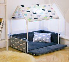 Dog House Washable Home Shape Dog Bed + Tent Dog Kennel Pet Removable Cozy House For Puppy Dogs Cat Small Animals Home Products Bed Tent, Canopy Tent, Dog Playpen, Dog Kennels, Cat Kennel, Luxury Tents, Dog Rooms, Rooms For Dogs, House Beds