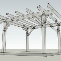 12x12 Timber Frame Pergola X-Ray Vision