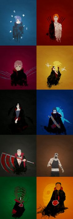Akatsuki!! Put together by Makkura Murasaki, https://www.pinterest.com/UchihaLove/ Please do not delete the description, I do not know the artist. I will link to the artist when I find the artist