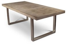 "Miller 83"" Dining Table @ One King's Lane $1499. Concrete top with steel frame - cool!"
