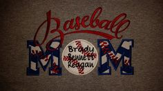 Check out Baseball MOM With Name And Number On Back Applique Shirt Sweatshirt Hoodie Embroidery on fabuellaboutique