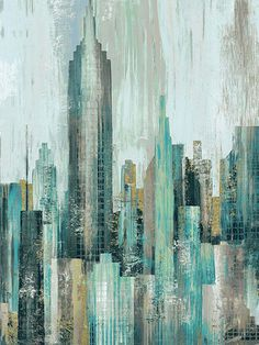 art abstracto Urban Oasis Digital Panel x ~ This is only a partial view of the stunning art panel. See more via Annies! Building Painting, City Painting, Urban Painting, Oil Painting Abstract, Urban Landscape, Landscape Art, Diego Rivera Mural, Skyline Painting, Abstract City