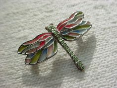 Monet Dragonfly Pin Brooch with Translucent colored wings and Rhinestones 1 inch