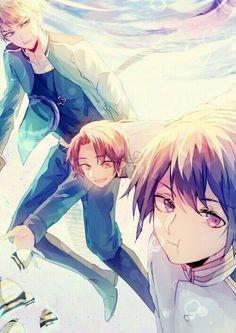 Germany (Ludwig), North Italy (Feliciano Vargas) and Japan (Kiku Honda). Anime Hetalia (aph/Axis Powers Hetalia)