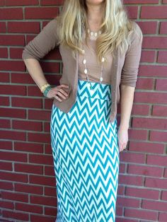 Maxi Skirt Teal & White Chevron XSXL Petite by JuneDesignsClothing