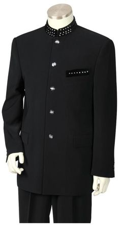 Men's 2 Piece Microfiber Fashion Suit - Nehru Style with Sparkling Accents Black   MensITALY  Price: US $249