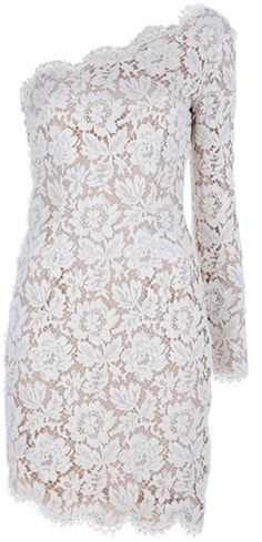 Stella Mccartney Asymmetric Lace Dress in Beige (nude)