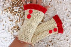 Cream gloves Cream wool gloves Cream fingerless by Nazcolleccolors