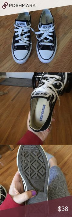 Black and white low top converse Women's size 6 fits true to size. Wore once they're in perfect condition! Converse Shoes Sneakers