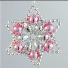 Flower Star Ornament Glass Bead Project Kit ~ Silver and Pink ~ Czech Republic Beaded Christmas Decorations, Beaded Christmas Ornaments, Snowflake Ornaments, Handmade Christmas, Christmas Crafts, Xmas, Diy Ornaments, Vintage Ornaments, Felt Christmas