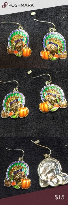 """Thanksgiving Turkey Pierced Earrings Thanksgiving Turkey Pierced Earrings.  Approximately 1"""" wide x 1"""" tall.  Turkey and pumpkins at Thanksgiving.   Never been worn. They are even prettier in person. Jewelry Earrings"""