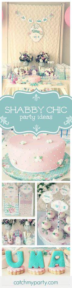 Loving this beautiful shabby chic birthday party! The cake pops and cookies are so pretty! See more party ideas at CatchMyParty.com