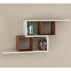 Zerre Bookcase in White and Walnut