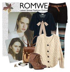 """""""Romwe Knitwear 2"""" by clara-bow80 ❤ liked on Polyvore featuring Becca Cosmetics, Retrò, Nine West, oversized cardigans, romwe and printed tights"""