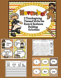 Thanksgiving Write The Room Literacy Activities Perfect for November  This November themed Write the Room activity pack is a fun way to engage your students and gets them up and moving! There are 3 different sets of Thanksgiving themed cards; each set has 8 cards. There are 4 differentiated student response sheets for each set.