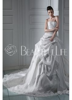 $188.99  Strapless Satin #Ball #Gown #Wedding #Dress With Embroidery And Pick-up Bottom