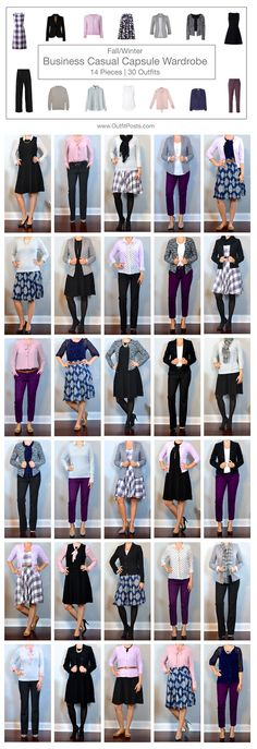 outfit post: fall/winter business casual capsule wardrobe – 14 pieces   30 outfits