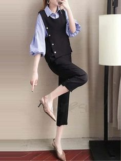 21cf18a44fd04 ファッション通販 #Fashion Doresuweベストストライプ柄折り襟レディースファッション着やせパンツ