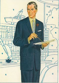 I love this one... Mens Suits 1950's    Paint by number fashion  #paintbynumber