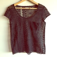 """Kimchi Blue black lace top Very cute lace top with front pocket. No holes or pulls. Measures 18"""" from underarm to underarm and 22"""" long. Urban Outfitters Tops"""