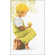 """LanArte Girl with Apple On Cotton Counted Cross Stitch Kit, 8"""" x 11.75"""", 27 Count"""