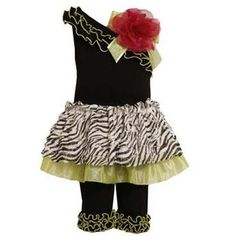 Bonnie Jean Zebra Tutu Tunic and Capri Set. Zebra and lime tutu tunic and Capri ensemble for little girls. See More Girl Clothes at http://www.ourgreatshop.com/Girl-Clothes-C197.aspx